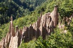 Ziemscy ostrosłupy, Renon, Południowy Tyrol, Włochy Zdjęcia Royalty Free