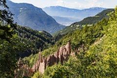 Ziemscy ostrosłupy, Renon, Południowy Tyrol, Włochy Obrazy Stock