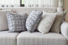 Ziemska brzmienie kanapa ustawiająca z zmienia deseniowe poduszki w żywym pokoju Fotografia Royalty Free