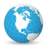 Ziemska kula ziemska z białą światową mapą, błękitni oceany i morza i skupiał się na Północna Ameryka Z cienkimi białymi południk ilustracji