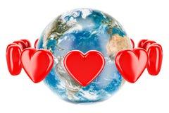 Ziemska kula ziemska z czerwonymi sercami wokoło, valentine ` s dnia pojęcie 3d Fotografia Royalty Free