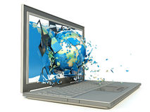 Ziemska kula ziemska nadchodząca od laptopu out Zdjęcie Royalty Free