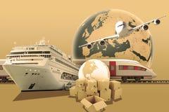 Ziemska kula ziemska z pociągiem i statkiem Obraz Stock
