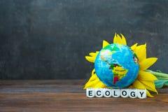 Ziemska kuli ziemskiej piłka przeciw żółtemu słonecznikowi i słowa ecolo zdjęcia stock