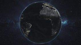 Ziemska nocy orbita wiruje planety gwiazdy t?o ilustracja wektor