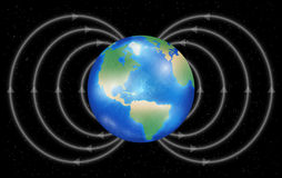 Ziemska planeta z polem magnetycznym na czarnym tle royalty ilustracja