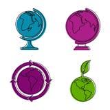 Ziemski ikona set, koloru konturu styl Fotografia Stock