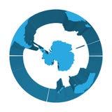 Ziemski kula ziemska model z błękitnymi wyrzuconymi ziemiami Skupiający się na Antarctica i Południowym słupie 3d ilustracja wekt Fotografia Royalty Free