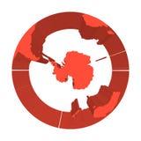 Ziemski kula ziemska model z czerwonymi wyrzuconymi ziemiami Skupiający się na Antarctica i Południowym słupie 3d ilustracja wekt Obrazy Royalty Free