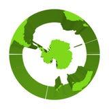 Ziemski kula ziemska model z zielonymi wyrzuconymi ziemiami Skupiający się na Antarctica i Południowym słupie 3d ilustracja wekto ilustracji