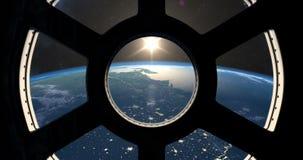 Ziemski wschód słońca widzieć od ISS royalty ilustracja