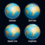 Ziemskie ikony z szerokości longitudes liniami Obrazy Stock