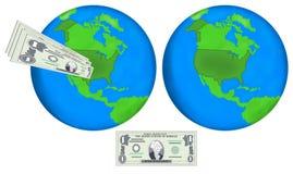 Ziemskie kule ziemskie i dolary Fotografia Stock