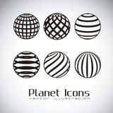 Ziemskie planet ikony ilustracja wektor
