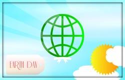 Ziemskiego dnia ikona z zieloną planetą Obrazy Royalty Free