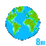Ziemskiego dnia piksel odizolowywająca oprócz biel pojęcie ziemia Fotografia Stock