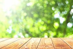 Ziemskiego dnia pojęcie: Pusty drewniany stół nad zamazanym drzewem z bokeh tłem fotografia royalty free