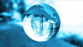 Ziemskiej kuli ziemskiej błękitny szkło, natura refract, zapętla, zaopatruje, materiał filmowego
