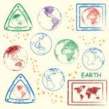 ziemskiej planety ustaleni znaczki Obraz Royalty Free