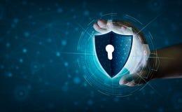 Ziemskiej wielobok siatki planety Światowi biznesmeni trząść ręki ochraniać informację w cyberprzestrzeni Biznesmena mienia osłon royalty ilustracja