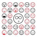 Ziet emoticon geplaatste pictogrammen onder ogen Stock Fotografie