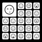 Ziet emoticon geplaatste pictogrammen onder ogen Royalty-vrije Stock Afbeeldingen