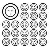 Ziet emoticon geplaatste pictogrammen onder ogen Stock Afbeelding