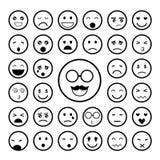 Ziet emoticon geplaatste pictogrammen onder ogen Stock Afbeeldingen