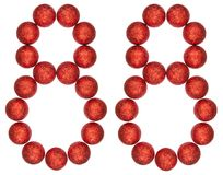 Ziffer 88, achtundachzig, von den dekorativen Bällen, lokalisiert auf whi Lizenzfreie Stockbilder