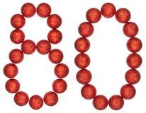 Ziffer 80, achtzig, von den dekorativen Bällen, lokalisiert auf weißem BAC Stockbild