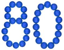 Ziffer 80, achtzig, von den dekorativen Bällen, lokalisiert auf weißem BAC Lizenzfreies Stockbild