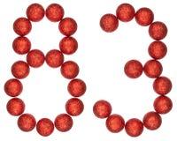 Ziffer 83, dreiundachzig, von den dekorativen Bällen, lokalisiert auf whi Stockbild