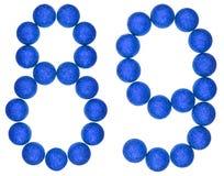 Ziffer 89, neunundachzig, von den dekorativen Bällen, lokalisiert auf Whit Stockfotografie