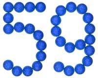Ziffer 59, neunundfünfzig, von den dekorativen Bällen, lokalisiert auf Weiß Lizenzfreie Stockbilder