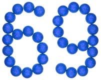 Ziffer 69, neunundsechzig, von den dekorativen Bällen, lokalisiert auf Weiß Stockfoto