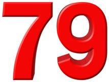 Ziffer 79, neunundsiebzig, lokalisiert auf weißem Hintergrund, rende 3d Lizenzfreie Stockbilder