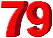 Ziffer 79, neunundsiebzig, lokalisiert auf weißem Hintergrund, rende 3d Stockfotos