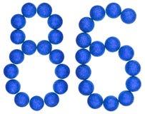 Ziffer 86, sechsundachzig, von den dekorativen Bällen, lokalisiert auf Weiß Lizenzfreie Stockfotografie