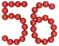 Ziffer 56, sechsundfünfzig, von den dekorativen Bällen, lokalisiert auf Weiß Lizenzfreies Stockfoto