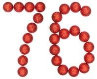 Ziffer 76, sechsundsiebzig, von den dekorativen Bällen, lokalisiert auf Whit Stockfoto