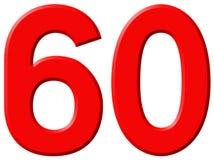 Ziffer 60, sechzig, sechzig, lokalisiert auf weißem Hintergrund, 3d Stockbild
