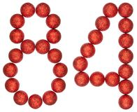 Ziffer 84, vierundachzig, von den dekorativen Bällen, lokalisiert auf Whit Lizenzfreies Stockfoto