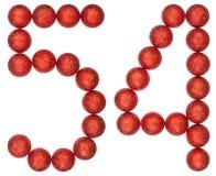 Ziffer 54, vierundfünfzig, von den dekorativen Bällen, lokalisiert auf Weiß Stockfotos