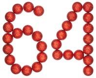 Ziffer 64, vierundsechzig, von den dekorativen Bällen, lokalisiert auf Weiß Stockfotos