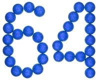 Ziffer 64, vierundsechzig, von den dekorativen Bällen, lokalisiert auf Weiß Stockfoto