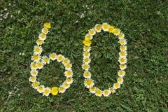 Ziffer 60 von Blüten in einer Wiese Lizenzfreie Stockfotografie