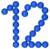 Ziffer 12, zwölf, von den dekorativen Bällen, lokalisiert auf weißem BAC Stockfoto