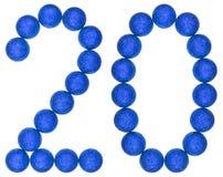 Ziffer 20, zwanzig, von den dekorativen Bällen, lokalisiert auf weißem BAC Stockfotografie