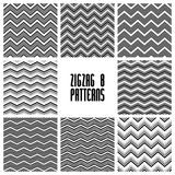 Zig zag black and white geometric seamless patterns set Royalty Free Stock Photo