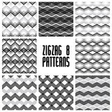 Zig zag black and white geometric seamless patterns set, vector Royalty Free Stock Photography